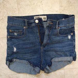Garage jean shorts distressed